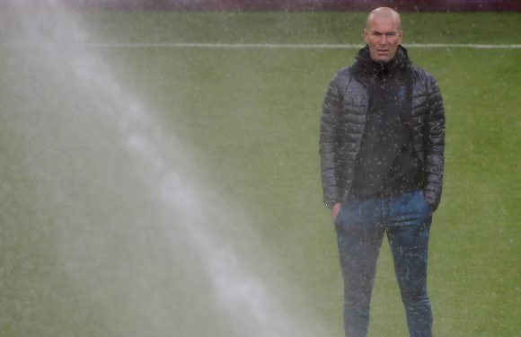 Zinedine Zidane soaked by sprinklers on Juventus pitch ahead of Champions League quarter-final clash with Real Madrid