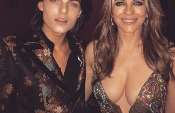Elizabeth Hurley wears a VERY revealing dress for son Damian's 16th birthday party