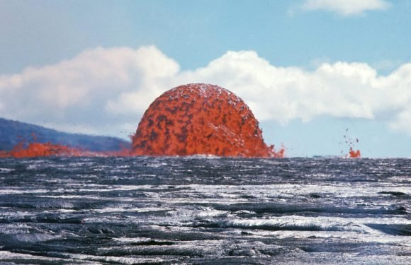 Incredible image of 70ft lava dome spewing out from Pacific ocean goes viral after 49 years
