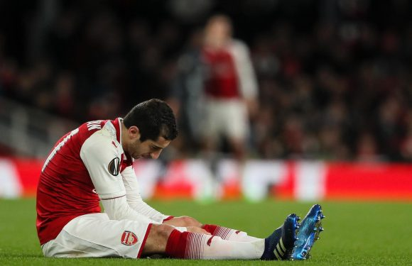 Henrikh Mkhitaryan ruled out of Arsenal's clash against Saints with a knee injury