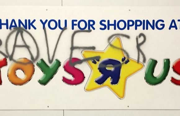 Hundreds of revellers invade an abandoned Toys 'R' Us to stage massive weekend rave
