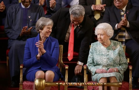 Theresa May thanks Queen for her 'service, dedication and constancy' to the Commonwealth as world leaders bid farewell to Her Majesty at her final summit