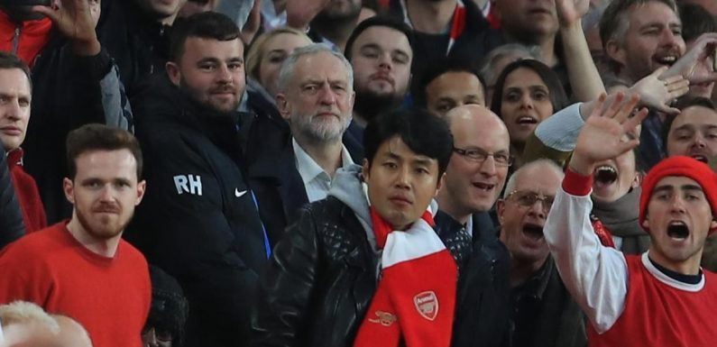 Jeremy Corbyn watches Arsenal play Atletico Madrid in Europa League semi-final first leg clash at Emirates