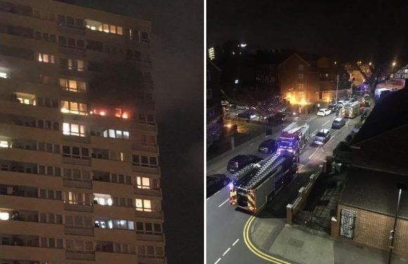 Firefighters battle blaze at Stratford tower block close to London's Olympic Village