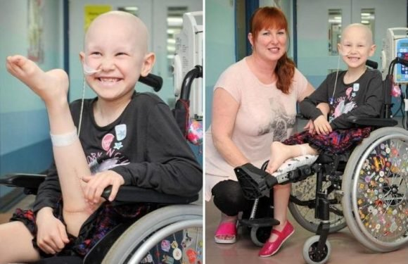 Cancer girl, 7, has amputated leg re-attached BACKWARDS in the hope she can dance again