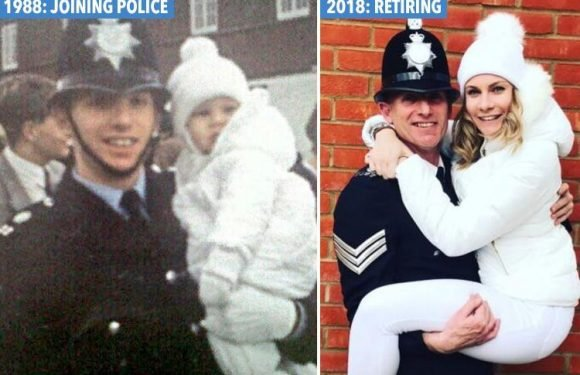 Cop's girl jumps into dad's arms like 1988 photo but now he's retiring