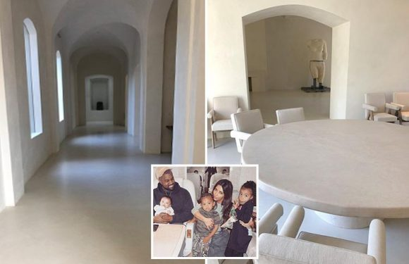 Kanye West reveals first ever pics of inside his and Kim Kardashian's £43m mansion after vowing not to let cameras in their home