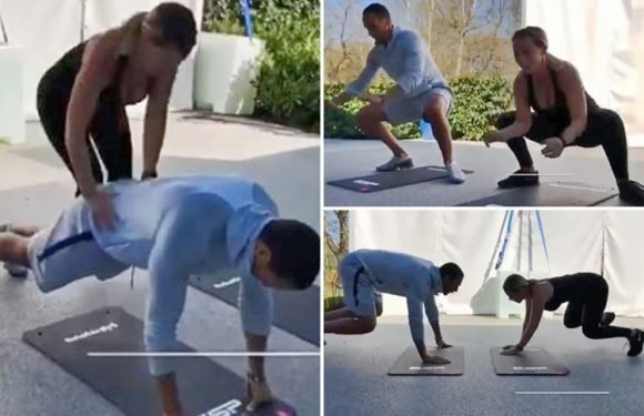Kate Wright and Rio Ferdinand give fans the ultimate couple goals with their perfectly in-sync workout routine