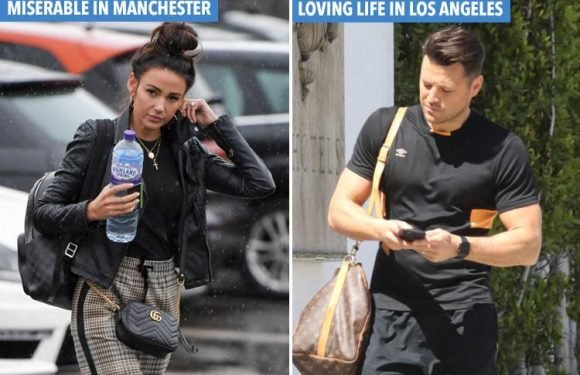 Mark Wright and Michelle Keegan worlds apart as she goes to gym in downpour while he heads for workout in blazing heat