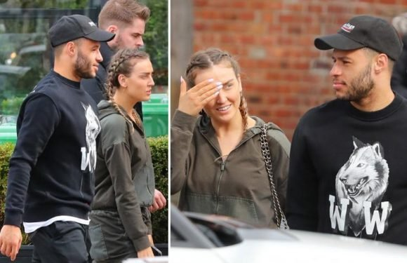 Perrie Edwards goes make-up free as Little Mix star heads for lunch with boyfriend Alex Oxlaide-Chamberlain in Cheshire