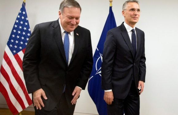 Hours into the job, Pompeo in Brussels for show of support for NATO