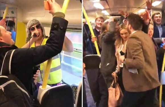 Hilarious moment DJ starts impromptu rave on train home from Grand National