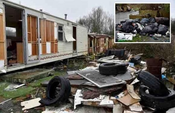 Travellers leave huge piles of rubbish and abandoned caravans at illegal site costing taxpayer £65k to clean it up