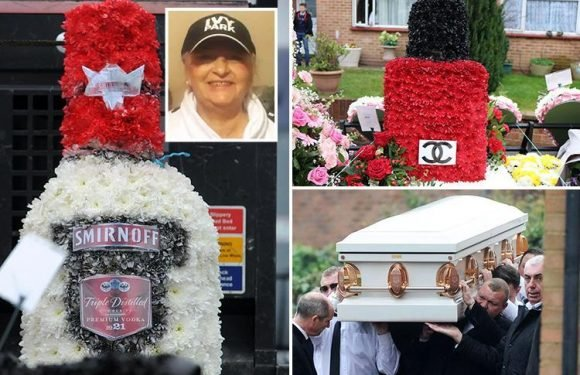 Hundreds turn out for funeral of gypsy grandma featuring flowers shaped like lipstick, Smirnoff bottle and nail polish