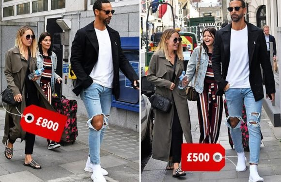 Kate Wright and Rio Ferdinand are the ultimate trendsetters as they dress head-to-toe in designer clobber for shopping on London's posh Saville Row