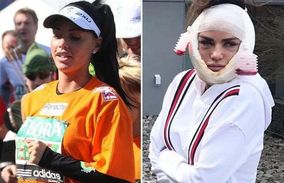 Katie Price slams doctor who warned her she will damage her new face if she runs the marathon two months after surgery