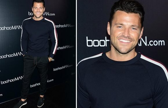 Mark Wright goes casual in a tracksuit on the red carpet at boohooMAN event in LA with Ashley James and Christina Milian
