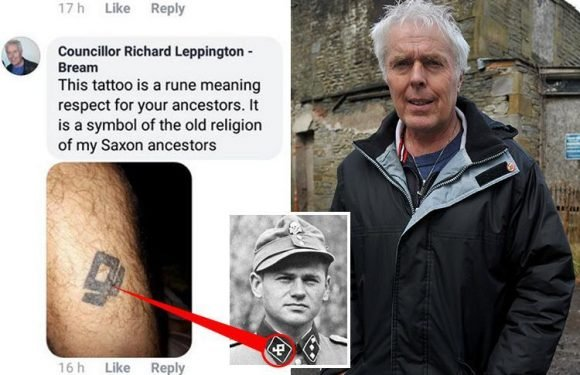 Top Ukip councillor denies he has Nazi tattoo… and insists it's a 'Norse rune tribute to his dad'
