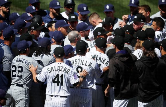 Rockies star charges the mound and wild brawl breaks out