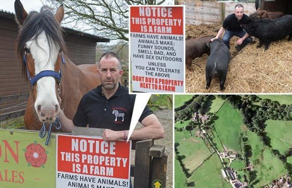 Farmer mocks snowflake 'townies' complaining about his 'noisy and smelly' animals with hilarious warning sign