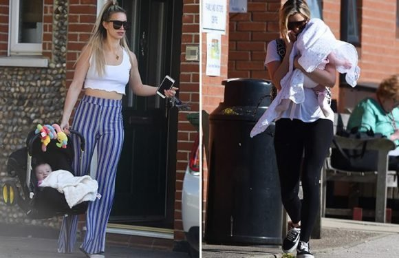 Ferne McCann glams up for a day out with baby Sunday after taking her to see dad Arthur Collins in prison