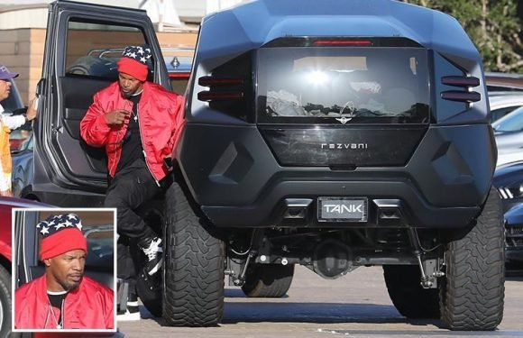Jamie Foxx shows off £133k Rezvani Tank car with thermal night vision and ballistic armour protection on Malibu date