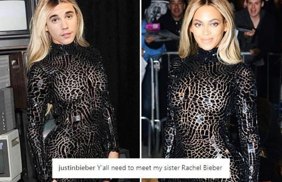 Justin Bieber baffles fans as he introduces his 'sister' Rachel after Photoshopping his face on to Beyonce's body