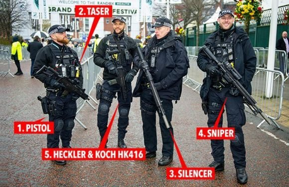 Grand National armed cops pictured guarding Aintree punters with military-style sniper rifles complete with silencers