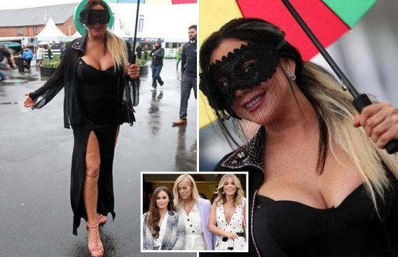 Lisa Appleton disguises herself in a 'sexy Zorro' mask as she lets her hair down at Aintree's Ladies Day with newly-single Courtney Green and her Towie pals