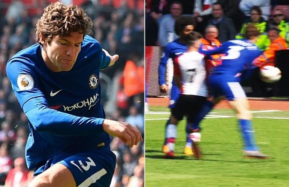 Marcos Alonso banned for three games after stamp on Shane Long and will miss Chelsea's clash with Burnley and Cup semi