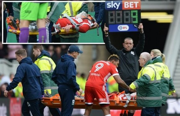 Middlesbrough star Patrick Bamford receives oxygen before being carried off in a neck brace following nasty clash with Bristol City's Aden Flint