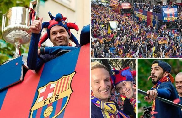 Barcelona celebrate La Liga title win with open-top bus parade as Andres Iniesta bids fans farewell
