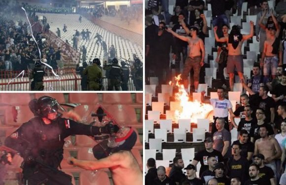 Belgrade derby marred by violence as Red Star and Partizan fans clash in violent scenes