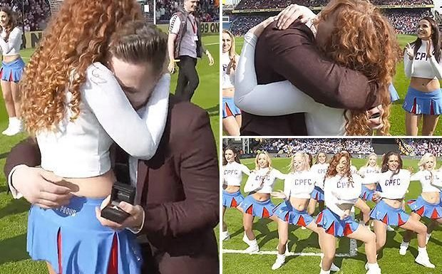 Crystal Palace cheerleader gets engaged at half-time of 3-2 win over Brighton