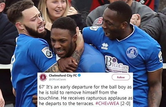 Cheeky ballboy sent off after aiming a 'hand gesture' at rival player and fans and is told to wait by referee's dressing room