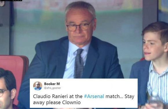 Arsenal fans worried as ex-Leicester boss Claudio Ranieri spotted in stands at the Emirates as club look for Arsene Wenger replacement