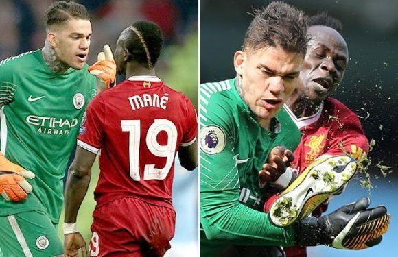 Manchester City goalkeeper Ederson furiously shoves Sadio Mane four times and reminds him of kick to face