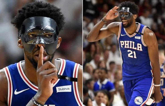 Joel Embiid wears incredible face-mask and goggles to make his NBA Playoffs debut… and everyone's making the same joke