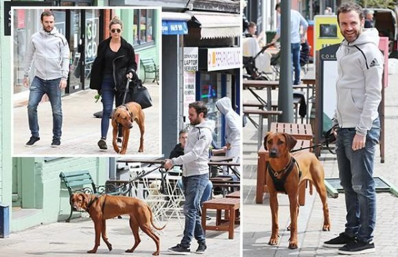 Manchester United ace Juan Mata puts on brave face as he walks his dog with partner Evelina Kampf despite being dropped by Jose Mourinho for Arsenal clash