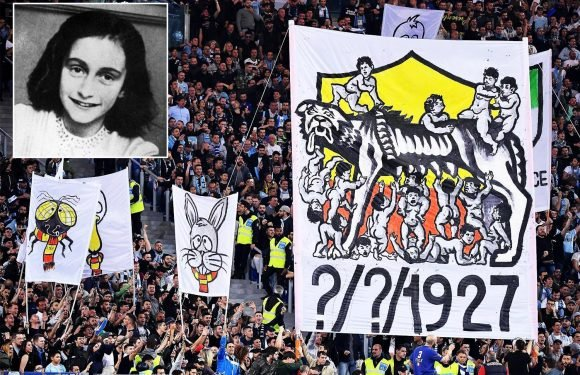 Lazio fans 'taunt rival Roma supporters with sick anti-Semitic Anne Frank chants during derby' on Sunday
