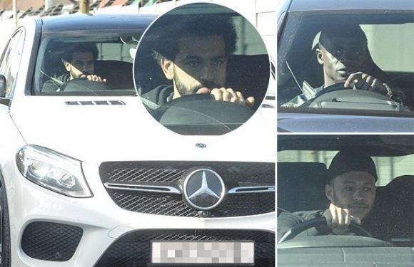 Liverpool stars arrive at Melwood training ground after demolishing Man City… as Mohamed Salah undergoes scan for groin injury