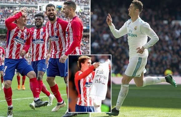 Real Madrid 1 Atletico Madrid 1: Antoine Griezmann cancels out Cristiano Ronaldo's volley as Diego Simeone's side remain second
