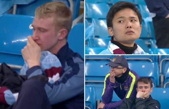 Manchester City fans break down and cry in the Etihad despite side being 13 points clear and set for the Premier League title