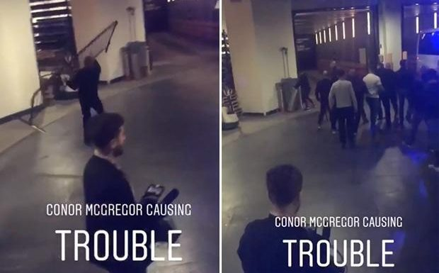 Conor McGregor causes chaos as he gatecrashes UFC media event and tries to launch metal gate at a bus