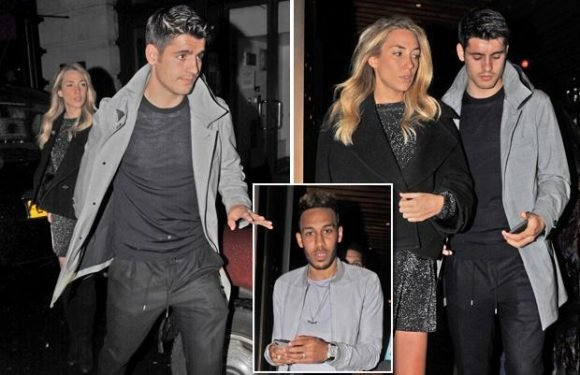 Alvaro Morata has dinner with stunning wife Alice Campello… and bumps into Pierre-Emerick Aubameyang