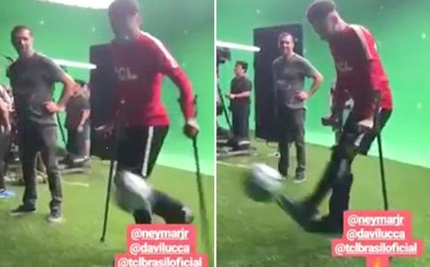 Neymar shows he is ready for World Cup comeback as PSG star kicks ball around with his son