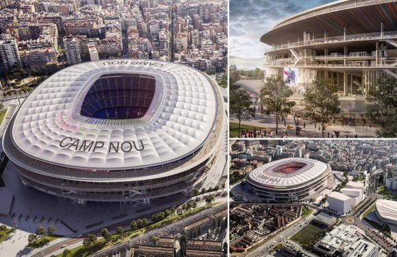 Barcelona unveil stunning new images of £550m Nou Camp expansion to 105,000 seats which has roof that catches rain to water pitch with