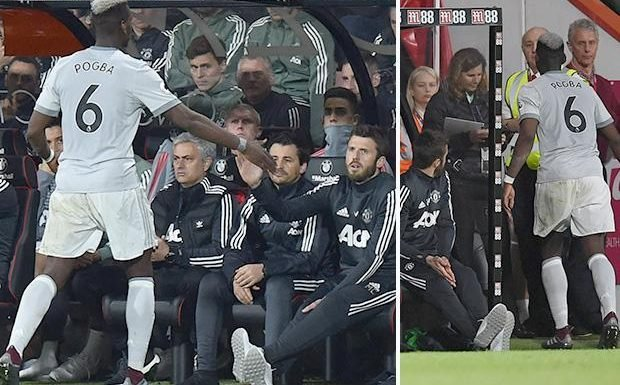 9b9cf4e5531 Paul Pogba appears to ignore Manchester United boss Jose Mourinho after  being substituted against Bournemouth