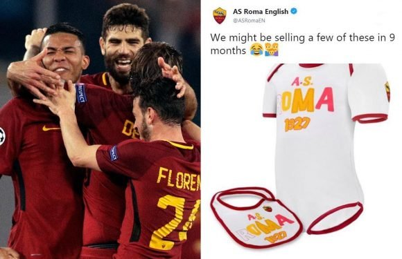 Roma fans celebrate Barcelona win in the bedroom, joke Serie A giants as they hilariously advertise baby kits
