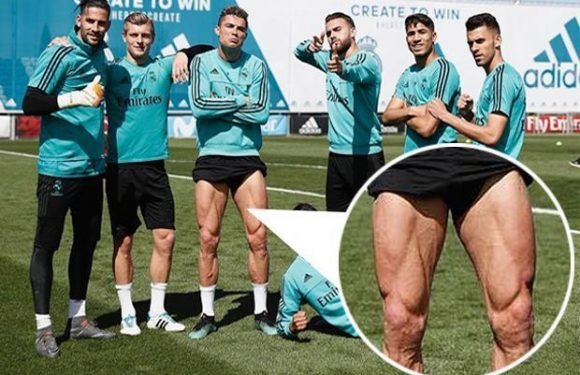 Cristiano Ronaldo shows off incredible leg muscles as Real Madrid prepare for Bayern Munich in Champions League